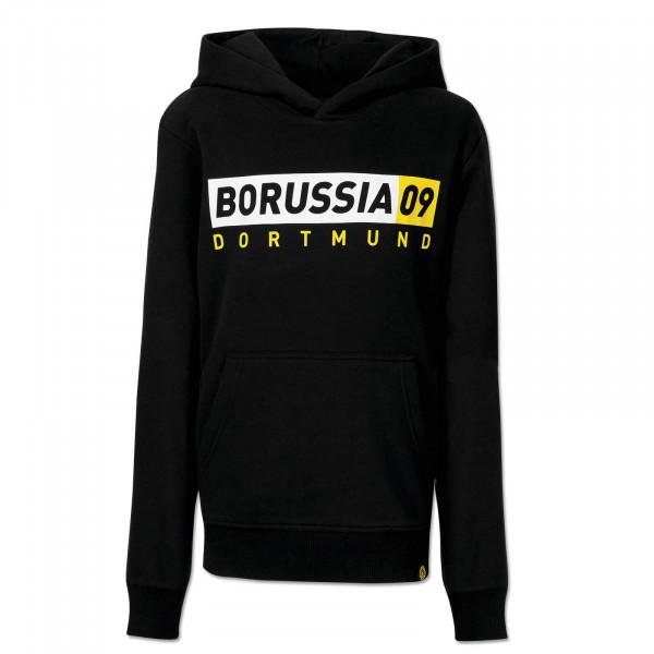 Sweat à capuche du BVB Borussia09, basique, pour enfants, noir et gris