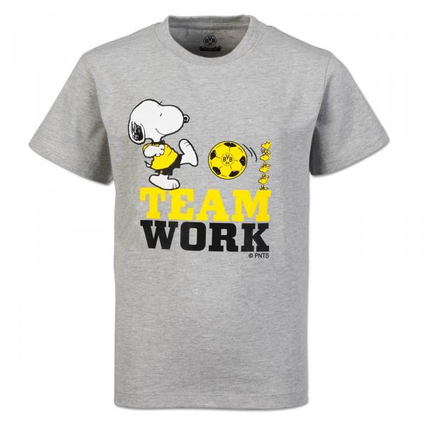 """T-Shirt Snoopy """"Travail d'équipe"""" dégradé de gris"""