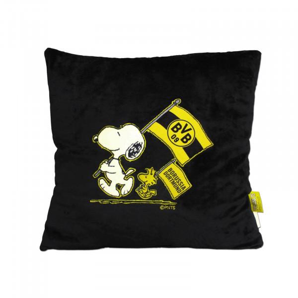 Coussin peluche BVB-Snoopy noir (38x38cm)