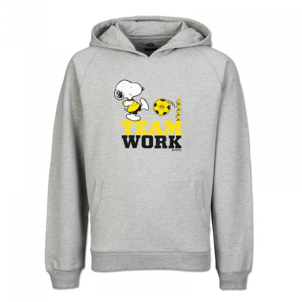 """Sweater à capuche Snoopy """"Travail d'équipe"""" dégradé de gris"""