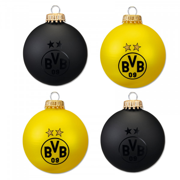 BVB Christmas Tree Baubles Black and Yellow (Set of 4)
