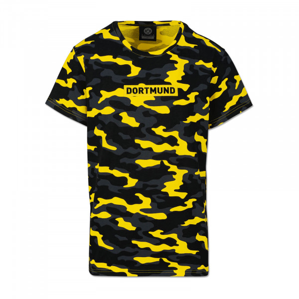 BVB LOGO T-SHIRT CAMO YELLOW FOR CHILDREN