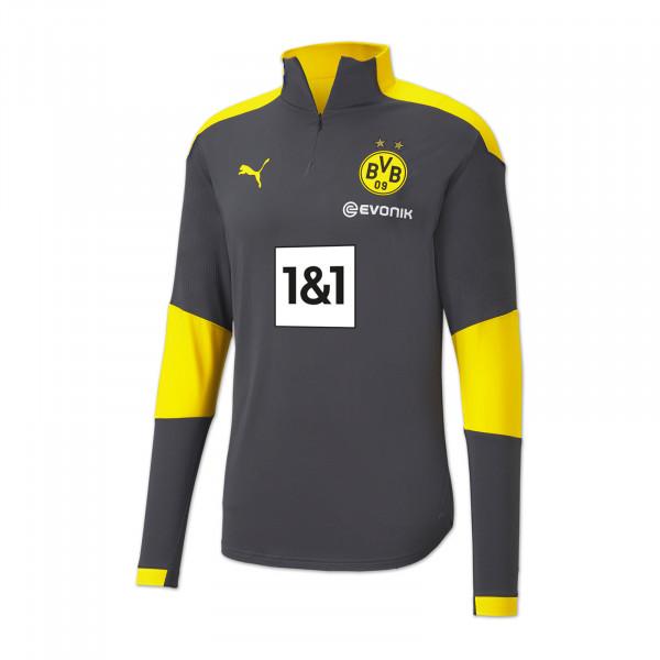 T-shirt d'entraînement à fermeture éclair BVB 20/21 pour enfant (gris)