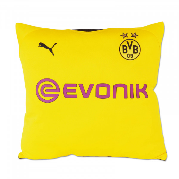 Coussin maillot 19/20 du BVB upcycling (recto)