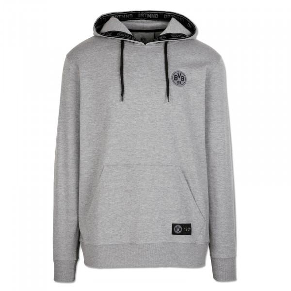 Sweater à capuche BVB DRTMND pour hommes, dégradé de gris