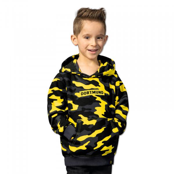 "BVB hooded sweatshirt ""Box Logo"" for kids (camouflage yellow)"