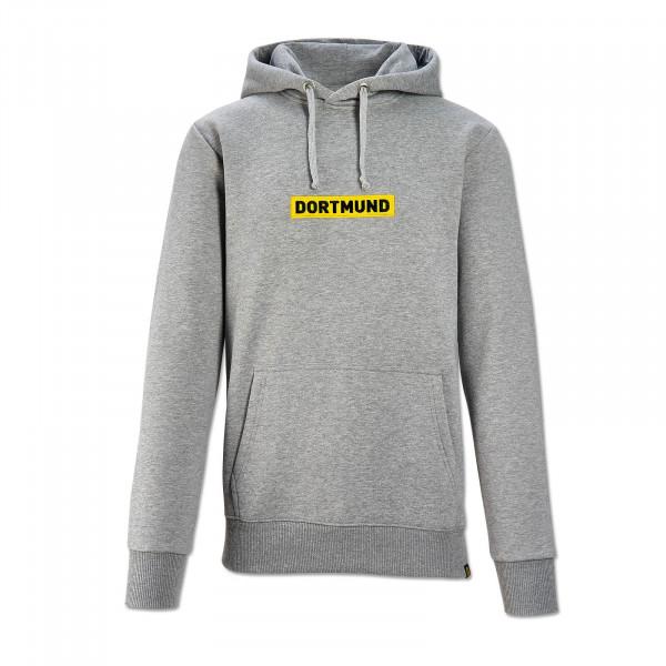 Sweat à capuche BVB avec box logo pour homme (gris)