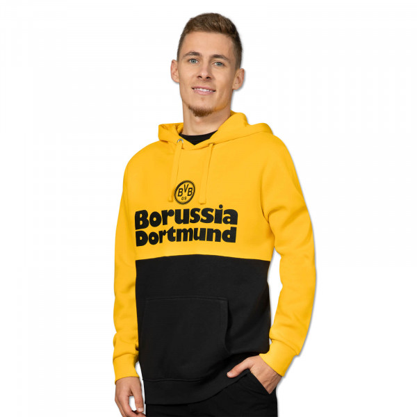 BVB Retro Hoodie men black and yellow